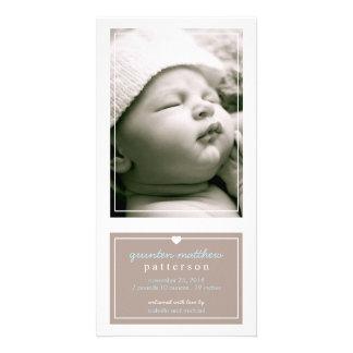 Modern Simple Baby Boy Birth Announcement Tan Card