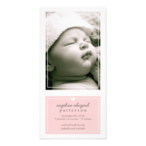 Modern Simple Baby Girl Birth Announcement Pink Photo Card