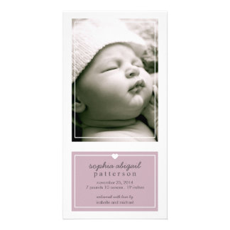 Modern Simple Baby Girl Birth Announcement Purple Photo Cards