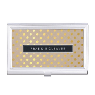 MODERN SIMPLE BADGE trendy gold foil spot kraft Business Card Holder