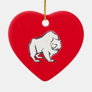 Modern, Simple & Beautiful Hand Drawn Bear Ceramic Heart Decoration