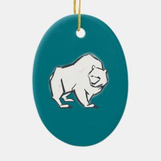 Modern, Simple & Beautiful Hand Drawn Bear Ceramic Oval Decoration