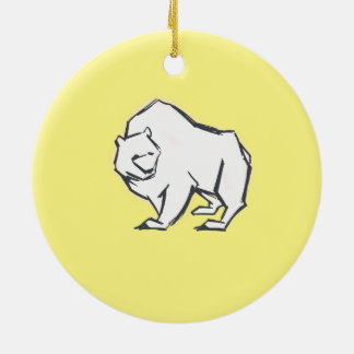 Modern, Simple & Beautiful Hand Drawn Bear Round Ceramic Decoration