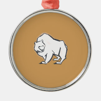 Modern, Simple & Beautiful Hand Drawn Bear Silver-Colored Round Decoration