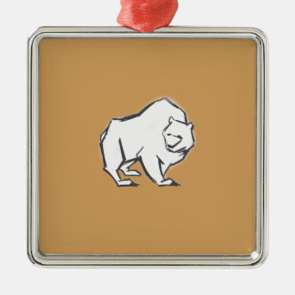 Modern, Simple & Beautiful Hand Drawn Bear Silver-Colored Square Decoration