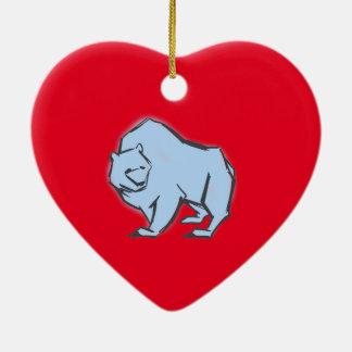 Modern, Simple & Beautiful Hand Drawn Blue Bear Ceramic Heart Decoration