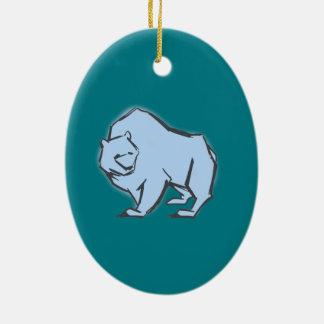 Modern, Simple & Beautiful Hand Drawn Blue Bear Ceramic Oval Decoration