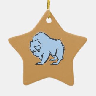 Modern, Simple & Beautiful Hand Drawn Blue Bear Ceramic Star Decoration