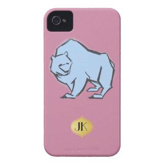Modern, Simple & Beautiful Hand Drawn Blue Bear iPhone 4 Covers