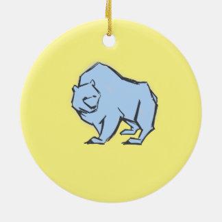 Modern, Simple & Beautiful Hand Drawn Blue Bear Round Ceramic Decoration