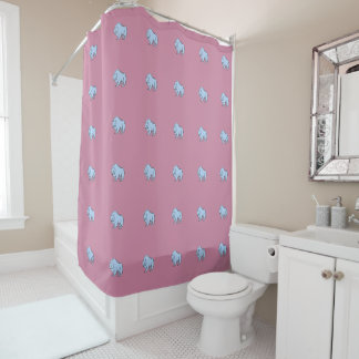 Modern, Simple & Beautiful Hand Drawn Blue Bear Shower Curtain