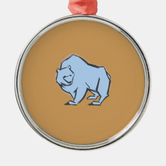 Modern, Simple & Beautiful Hand Drawn Blue Bear Silver-Colored Round Decoration