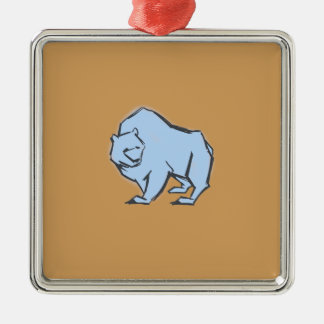 Modern, Simple & Beautiful Hand Drawn Blue Bear Silver-Colored Square Decoration