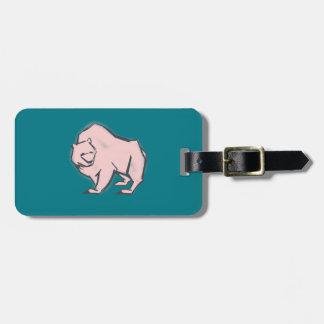 Modern, Simple & Beautiful Hand Drawn Pink Bear Bag Tag