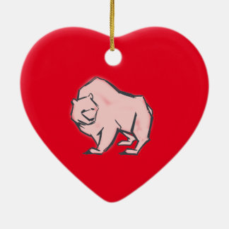 Modern, Simple & Beautiful Hand Drawn Pink Bear Ceramic Heart Decoration