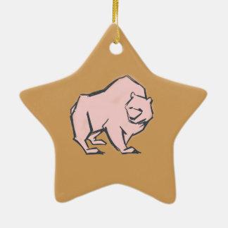 Modern, Simple & Beautiful Hand Drawn Pink Bear Ceramic Star Decoration