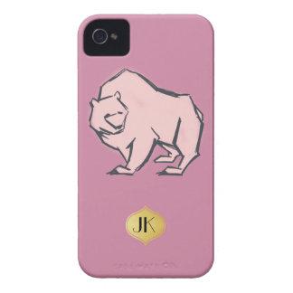 Modern, Simple & Beautiful Hand Drawn Pink Bear iPhone 4 Case-Mate Case