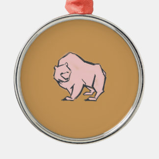 Modern, Simple & Beautiful Hand Drawn Pink Bear Silver-Colored Round Decoration