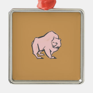 Modern, Simple & Beautiful Hand Drawn Pink Bear Silver-Colored Square Decoration