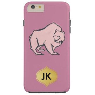 Modern, Simple & Beautiful Hand Drawn Pink Bear Tough iPhone 6 Plus Case