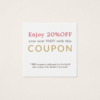 Modern Simple Beauty Salon Discount Coupon Square Business Card