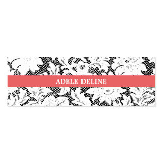 Modern Simple Black White Lace Interior Designer Pack Of Skinny Business Cards