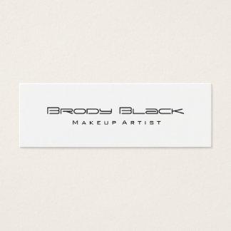 Modern Simple Black White Skinny Makeup Artist Mini Business Card