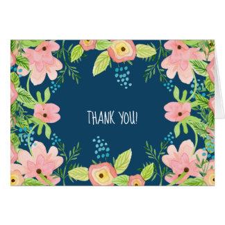 Modern Simple Boho Rose Pink Navy Floral Thank You Card