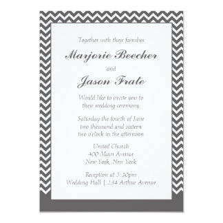 Modern Simple Chevron Wedding Invitation - Grey