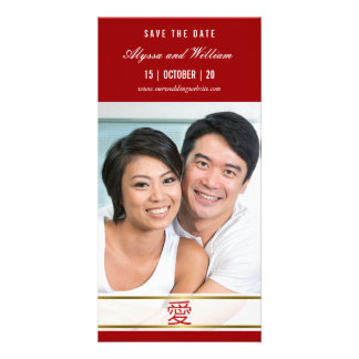 Modern Simple Chinese Red Love Photo Save The Date Personalised Photo Card