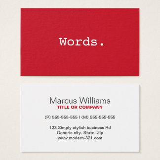 Modern simple deep red writer publisher editor business card