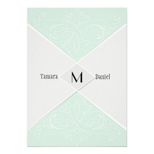 Modern Simple Diamond Velum Flap Look Swirl Scroll Personalized Invites