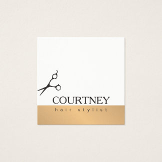 Modern Simple Elegant White Faux Gold Hair Stylist Square Business Card