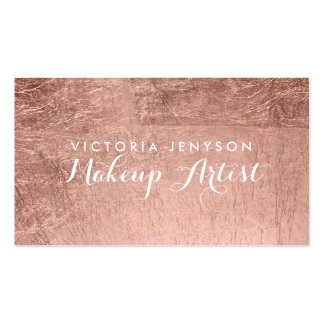 Modern simple faux rose gold chic makeup artist pack of standard business cards