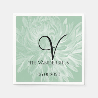 Modern Simple Flower in Mint Green Wedding Napkin Paper Napkins