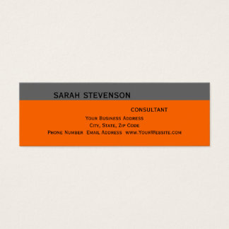 Modern Simple Grey Orange Consultant Business Card