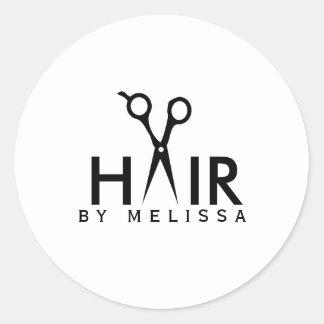 modern simple hairstylist black white classic round sticker