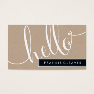 MODERN SIMPLE hello script trendy type kraft Business Card