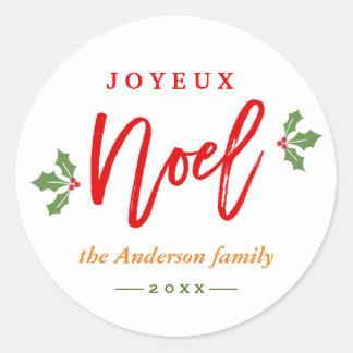Modern Simple Joyeux Noel Merry Christmas Favor Classic Round Sticker