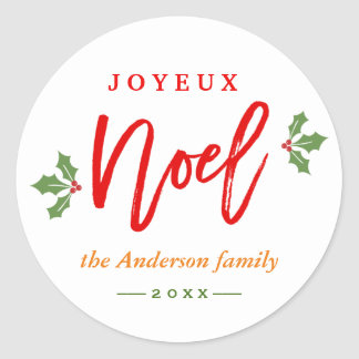 Modern Simple Joyeux Noel Merry Christmas Favor Round Sticker