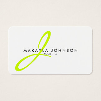 Modern & Simple Lime Green Monogram Professional