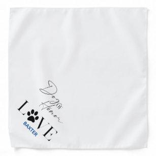 Modern Simple Love Paw Dog of Honour Monogrammed Bandana