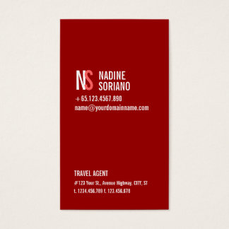 Modern Simple Red Monogram Professional Business Card