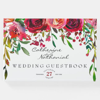 Modern Simple Red Rose Wedding Guest Book