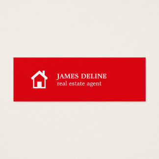 Modern Simple Red White House Realtor Mini Business Card