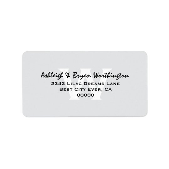 Modern Simple Silver and Black Monogram Wedding V1 Address Label