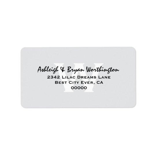 Modern Simple Silver and Black Monogram Wedding V1 Label