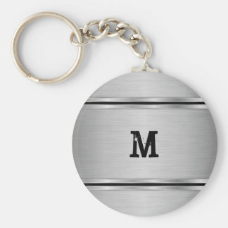 Modern Simple Silver Gray Metallic Design Key Ring