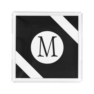Modern, Simple & Stylish Black and White Monogram Acrylic Tray