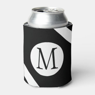 Modern, Simple & Stylish Black and White Monogram Can Cooler